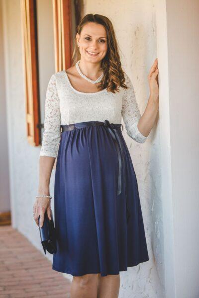 krém-kék kismama ruha