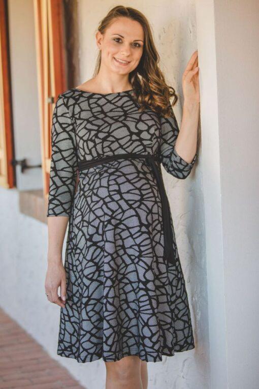 szürke mintás punto ruha